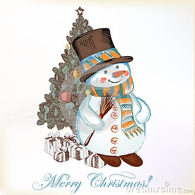 Free Christmas Greeting Card With Snowman And Christmas Tree Stock Photography - 31378312