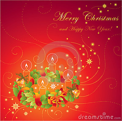 Christmas greeting card with wreath and ca