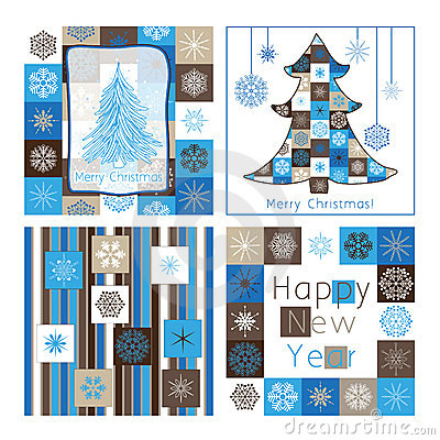 Christmas greeting cards - compilation of four car