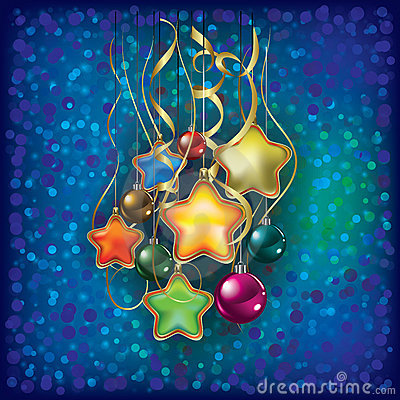 Christmas greeting with decorations on blue