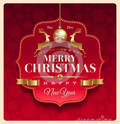 Christmas greeting decorative label