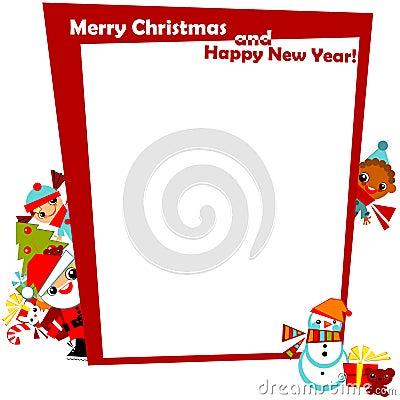 Christmas greeting with frame kids