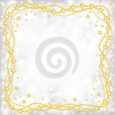 Free Christmas Greeting Frame Of Gold Beads On Blur Gray Background A Royalty Free Stock Photography - 46773137