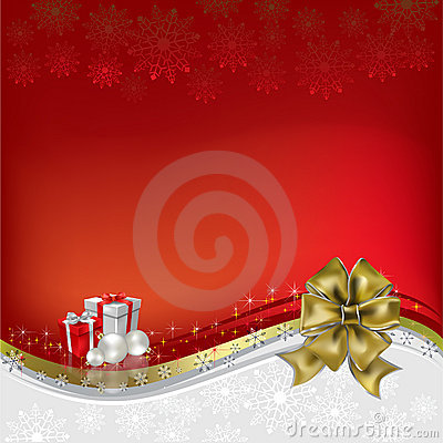 Christmas greeting gold bow with gifts