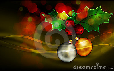 Christmas Greeting with Shiny Globes and Mistletoe