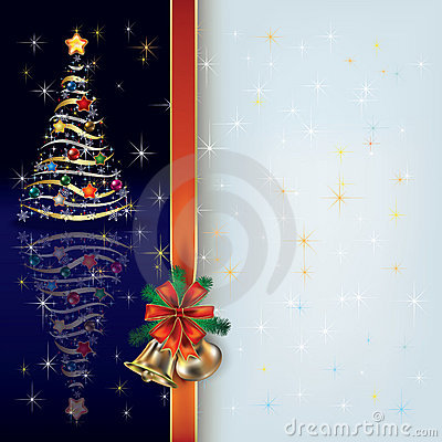 Christmas greeting with tree and gift ribbon