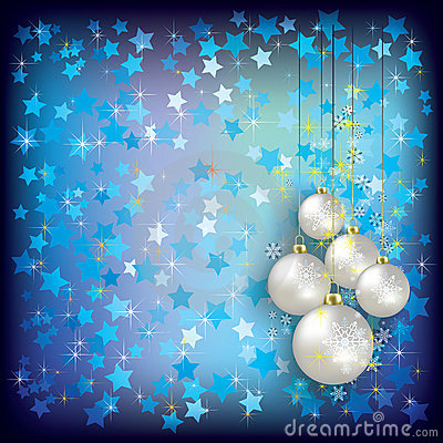 Christmas greeting with white decorations on blue