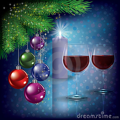 Christmas greeting with wine glasses and candle