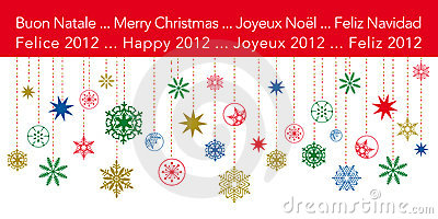 Christmas Greetings card with hanging snowflakes