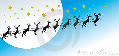 Christmas greetings card with reindeers