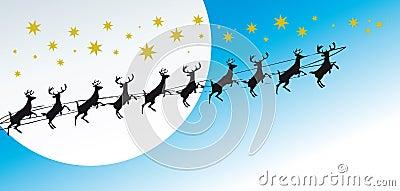 Christmas greetings card with reindeers