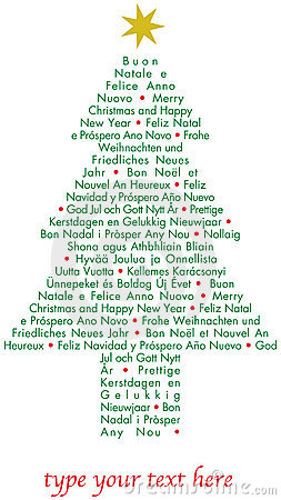Christmas greetings tree in different languages