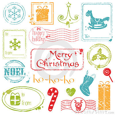 Christmas Grunge Stamps Collection