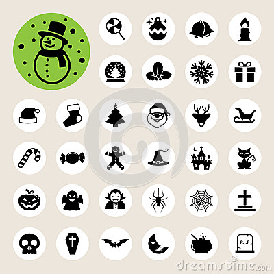 Christmas & Halloween icon set