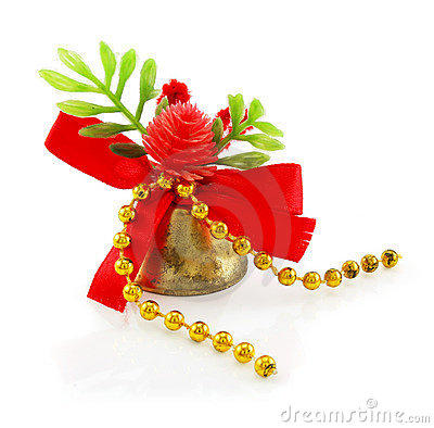 Free Christmas Hand Bell With Red Bow Stock Images - 7975174