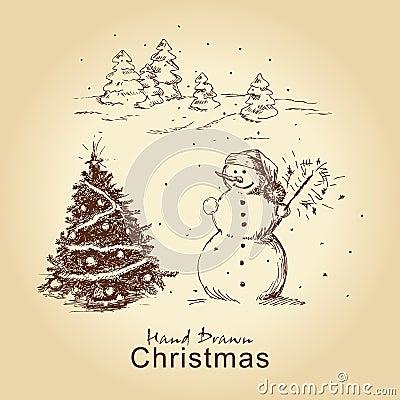 Christmas hand drawn card