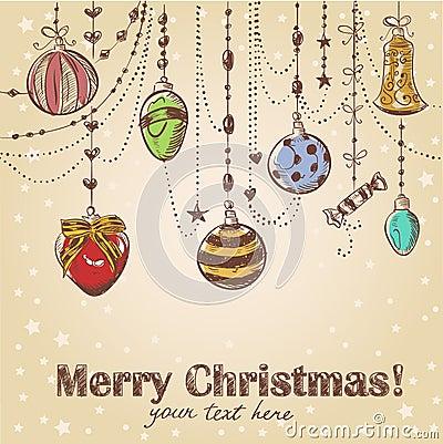 Christmas hand drawn decorative postcard