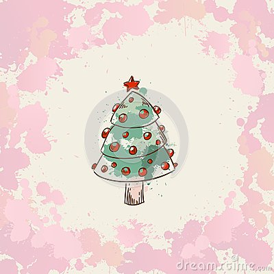 Free Christmas Hand Drawn Grunge Card With A Xmas Tree Stock Images - 27705704