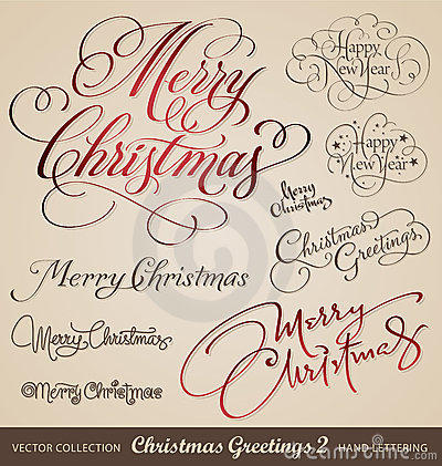 Free Christmas Hand Lettering Set (vector) Stock Photography - 22466952