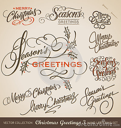 Free CHRISTMAS Hand Lettering Set (vector) Stock Photo - 40321290