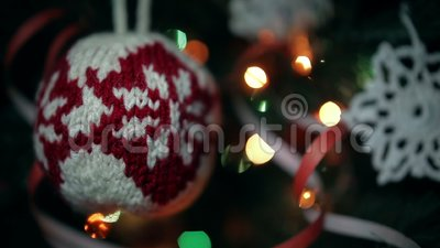 Christmas Handmade Decoration A Knitted Ball And A Crocheted Snowflake.  Stock Video   Video Of Handcraft, Crochet: 102226951