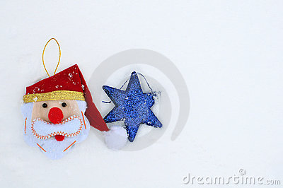 Christmas and Hanukkah holiday decorations on snow