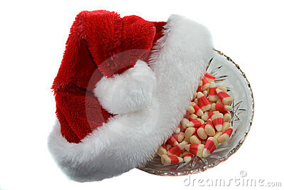 Christmas hat and candy.