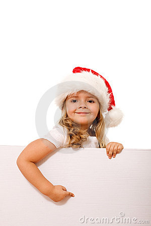 Christmas hat girl pointing to white banner