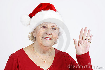 Christmas hat grandma waving hello