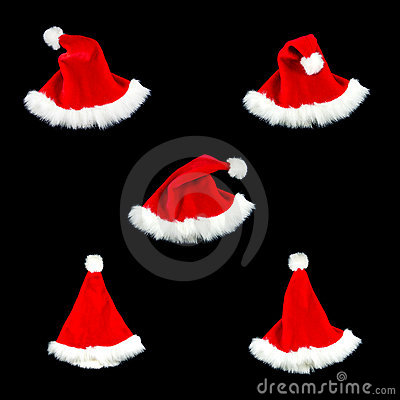 Christmas hat isolate black red five style