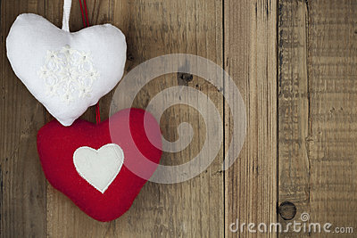 Christmas Heart Decorations over Timber