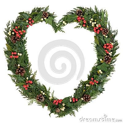 Free Christmas Heart Wreath Stock Image - 33268701