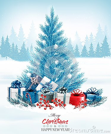 Free Christmas Holiday Background With A Blue Tree And Presents. Royalty Free Stock Photography - 103571257