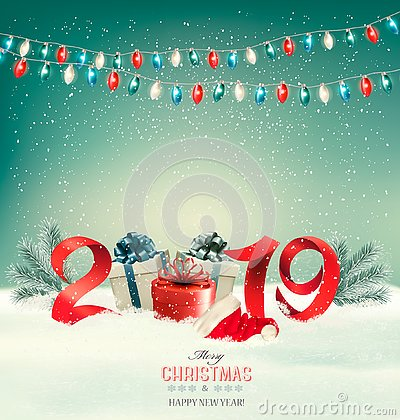 Free Christmas Holiday Background With Gift Boxes Stock Photography - 130241212