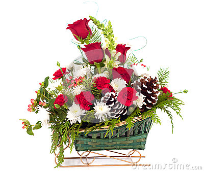 Christmas Holiday Bouquet in Basket Sleigh on white background