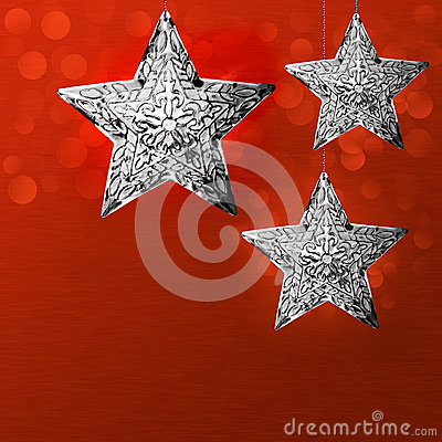 Christmas Holiday Card Background Design Silver Star Snowflakes