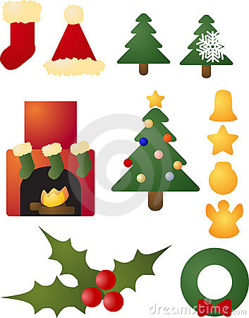 Christmas holiday celebration icons