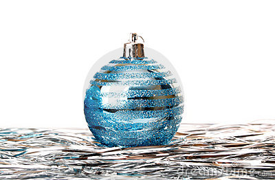 Christmas holiday decoration with blue ball
