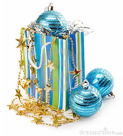 Christmas holiday decoration with blue balls