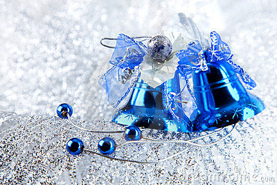 Christmas holiday decoration with blue bluebells