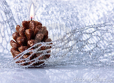 Christmas holiday decoration with festive candle