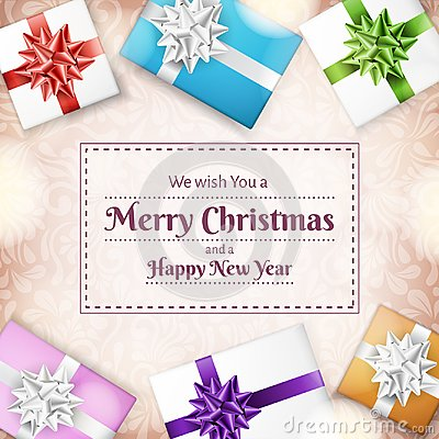 Christmas holiday frame with gift boxes from top Vector Illustration