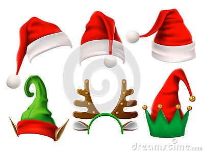 Christmas holiday hat. Funny 3d elf, snow reindeer and Santa Claus hats for noel. Elves clothes isolated vector set Vector Illustration