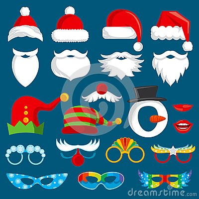 Free Christmas Holiday Photo Booth Props Vector Collection. Stock Image - 101079761