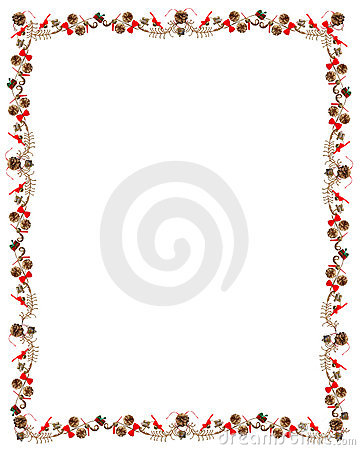 Christmas & Holiday Pine Cone & Ribbon Frame