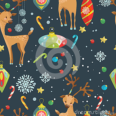 Christmas holiday seamless pattern with reindeer, snowflakes and Cartoon Illustration