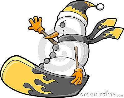 Christmas Holiday Snowman snowboard