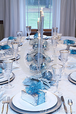 Christmas Holiday Table Setting Blue White Stock Photo