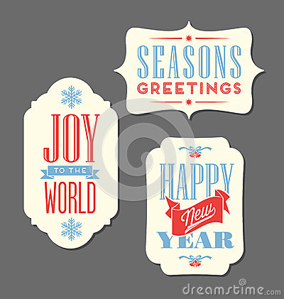 Free Christmas Holiday Tags Vintage Type Design Elements Stock Photography - 47142162