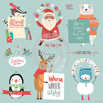Free Christmas Holidsys Set With Cute Characters Stock Photos - 62555263